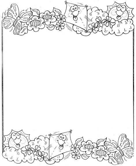 Dibujos de bordes para pintar y colorear