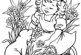 Dibujos Tiernos de Niñas para Pintar y Colorear
