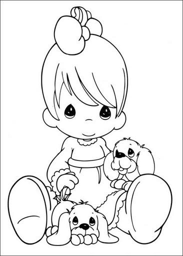 Dibujo tierno de niña con perritos para pintar - Imágenes