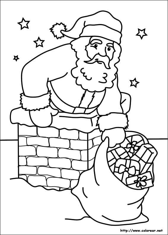 Imágenes de Papa Noel para Pintar y Colorear