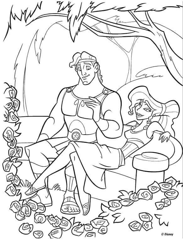 Dibujos de disney para coloerear Hercules Enamorado