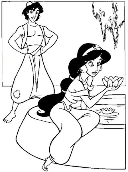 dibujo de aladino en el pozo de los deseos