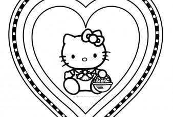 dibujo de hello kitty enamorada