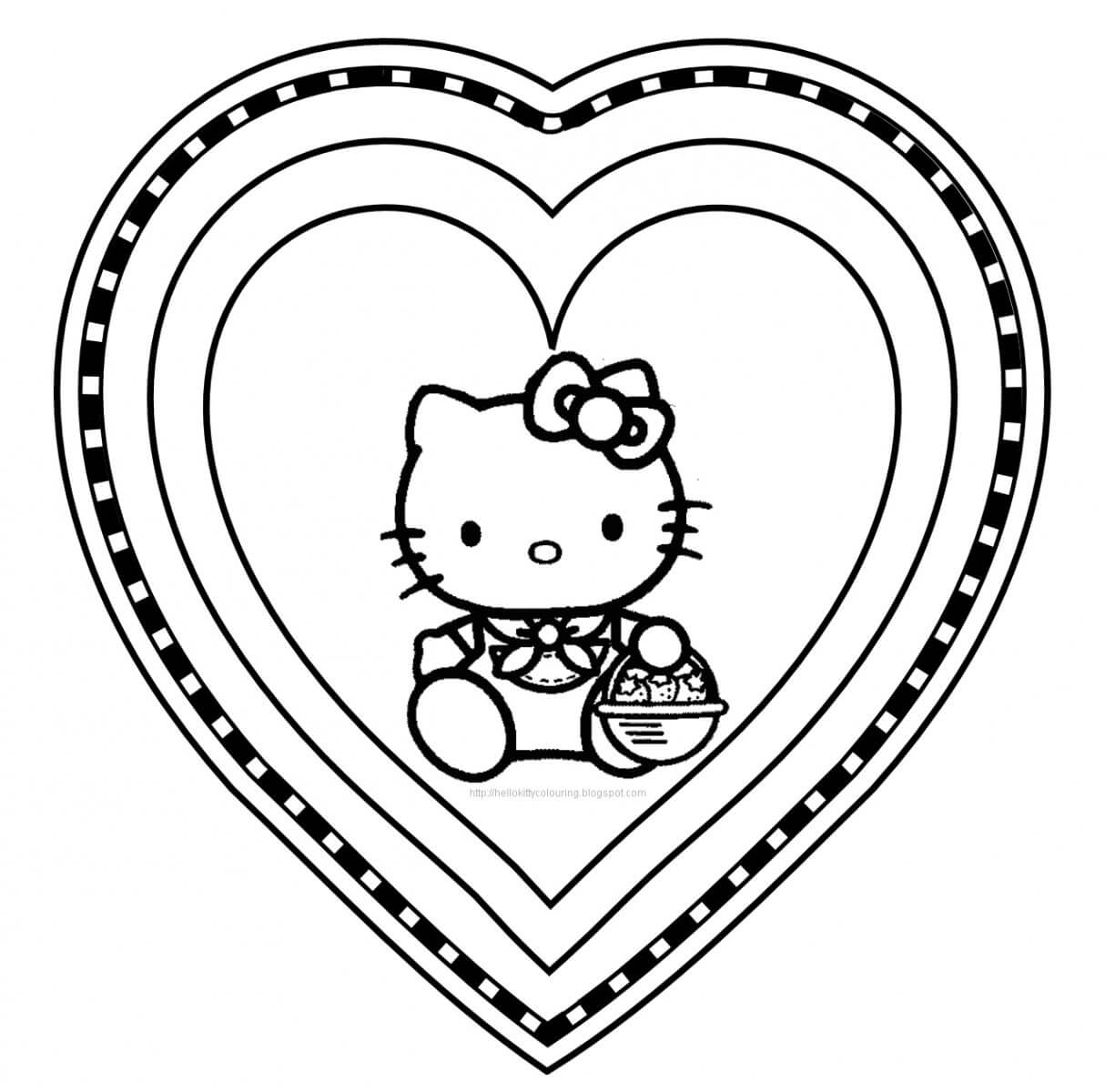 dibujo de hello kitty enamorada
