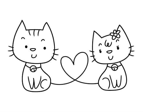 dibujos de gatos enamorados