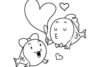 dibujos de peces  enamorados