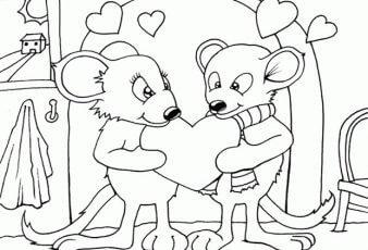 dibujos de ratones enamorados