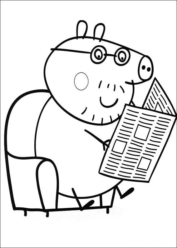 Dibujo para colorear el Papa de Peppa Pig