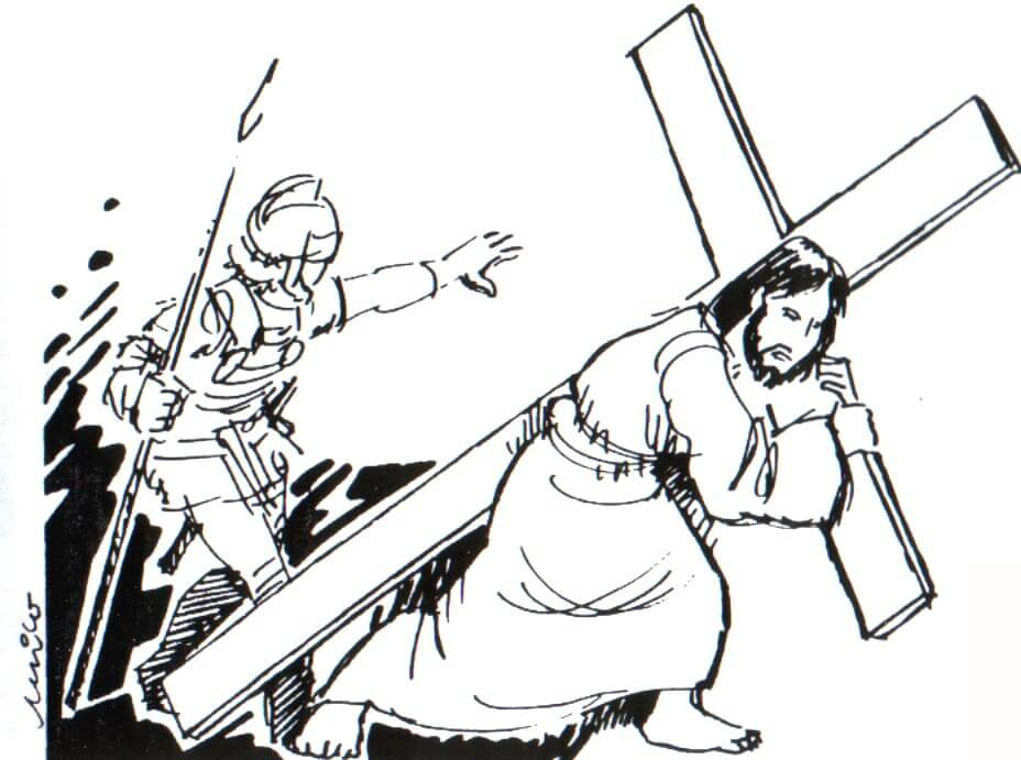 Dibujos de Jesus Cargando Cruz Para Pintar