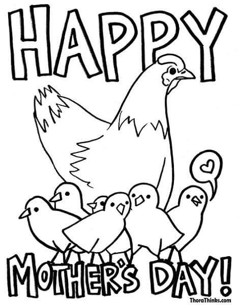 Dibujos del dia de la madre con animales para colorear