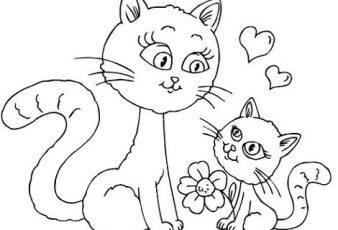 Dibujos del dia de la madre con animales para pintar