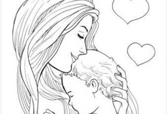 Dibujos del dia de la madre con frase para colorear