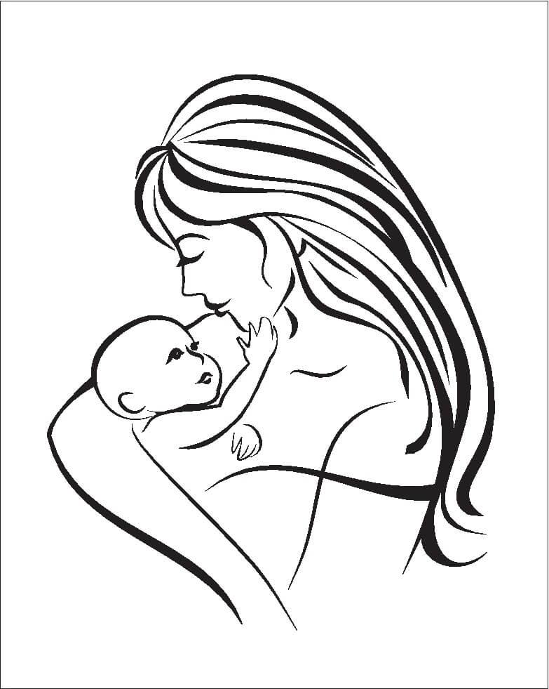 Мать и ребёнок рисунок карандашом