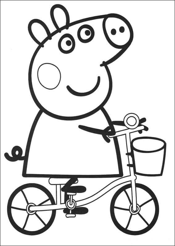 Dibujos para colorear Peppa Pig en su Bici
