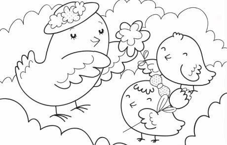 Tarjetas del dia de la madre con animales para colorear