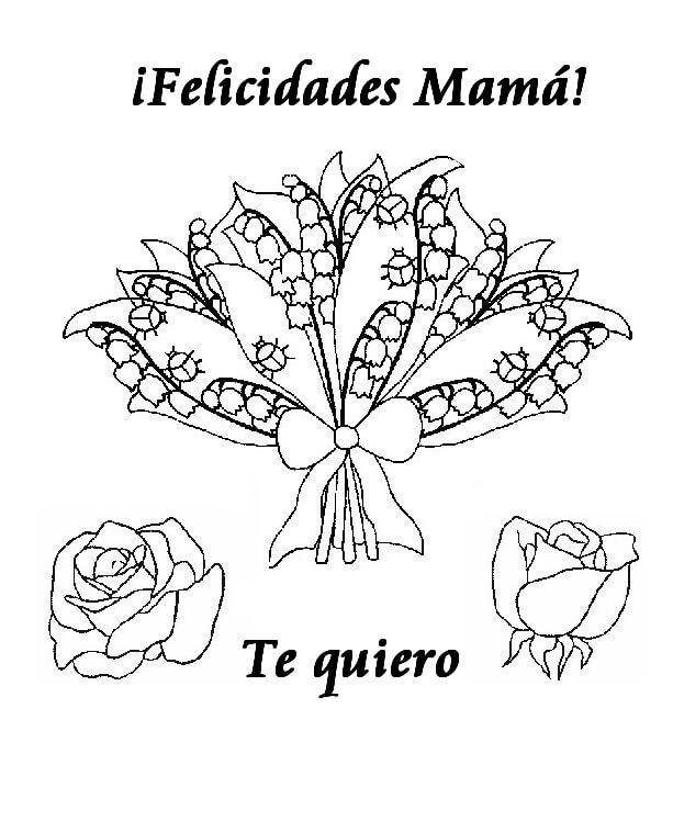 Dibujo para colorear en el dia de la Madre 2014