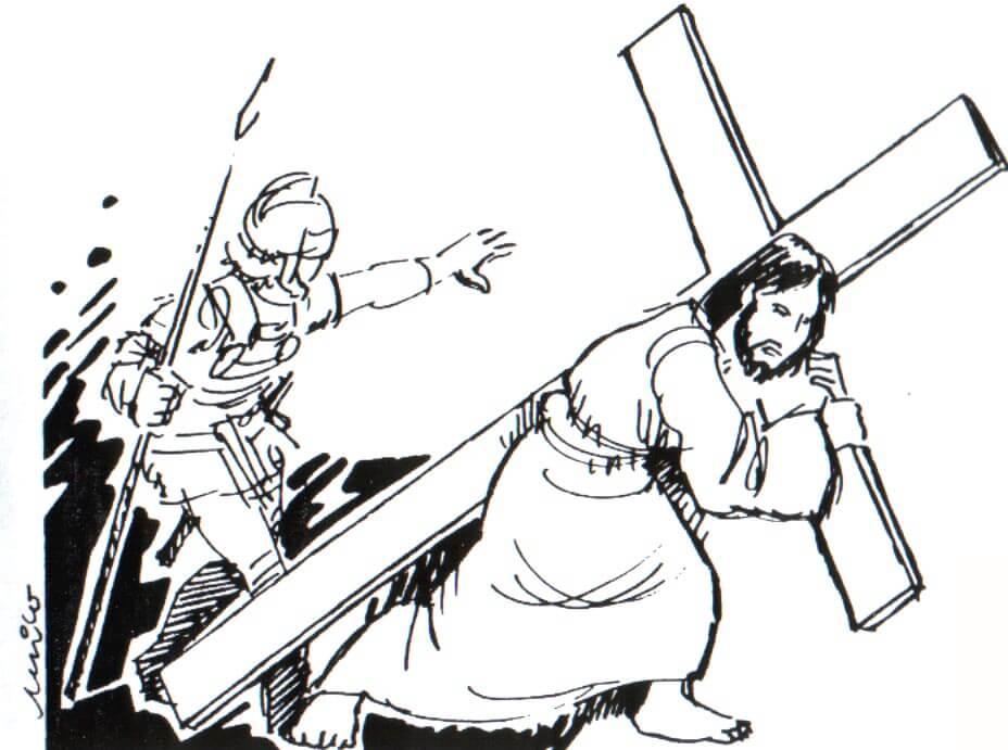 Dibujos  de Semana santa Jesus cargando la Cruz para pintar