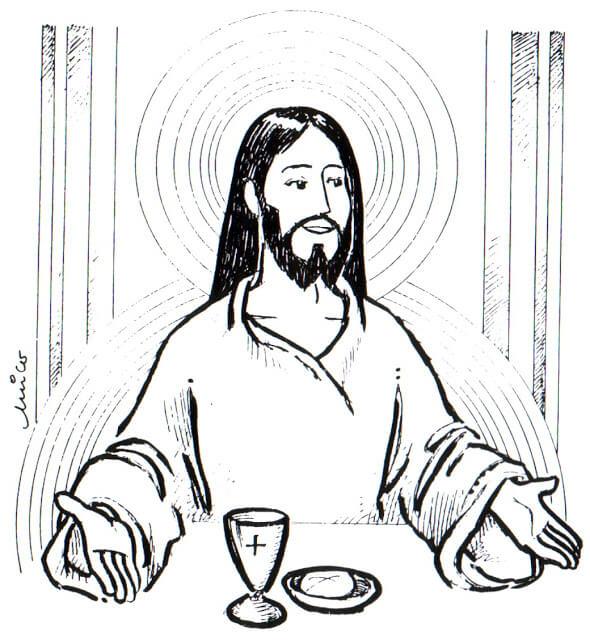Jueves Santo para colorear Jesus Eucaristico