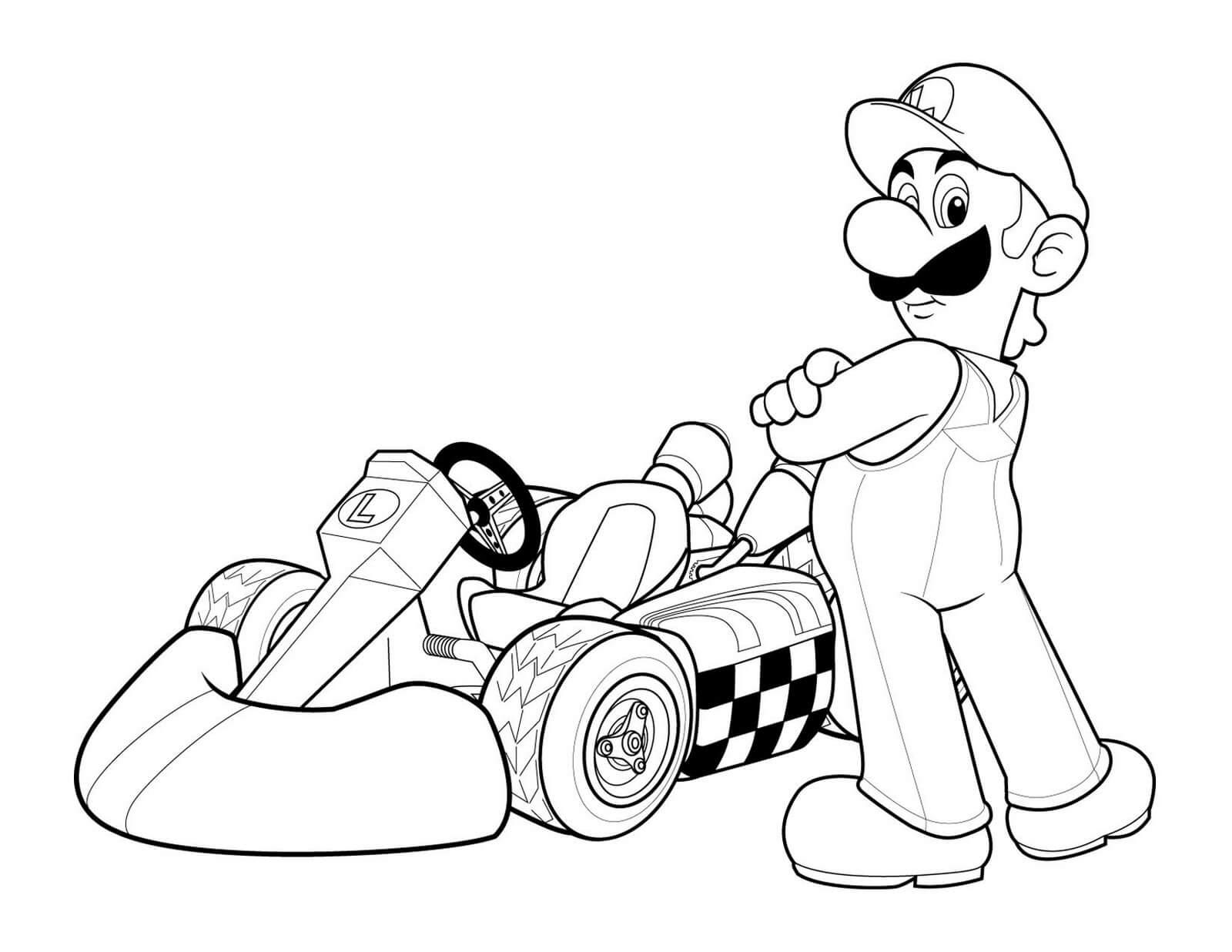 Dibujos para colorear kart de Luigi