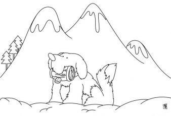 Dibujos de Perros en un Paisaje para colorear