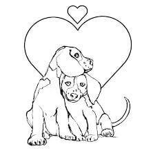 Dibujos para colorear de cachorros enamorados