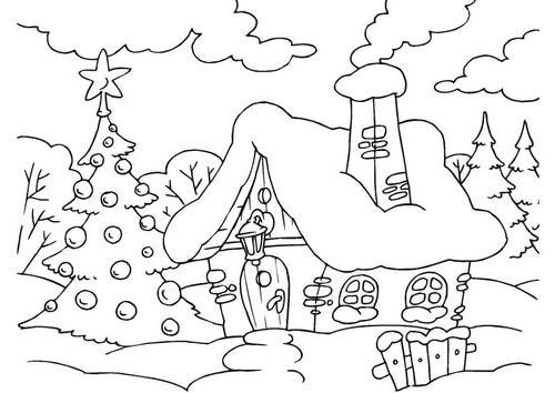 Dibujo colorea casa navideña