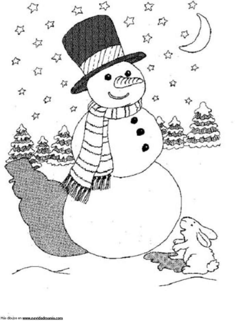 Encantador Lindo Muñeco De Nieve Navidad Para Colorear Bosquejo ...