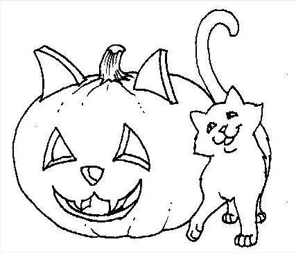 Dibujos de un Gato y su calabaza