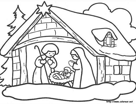 Dibujos para colorear del pecebre de Jesus