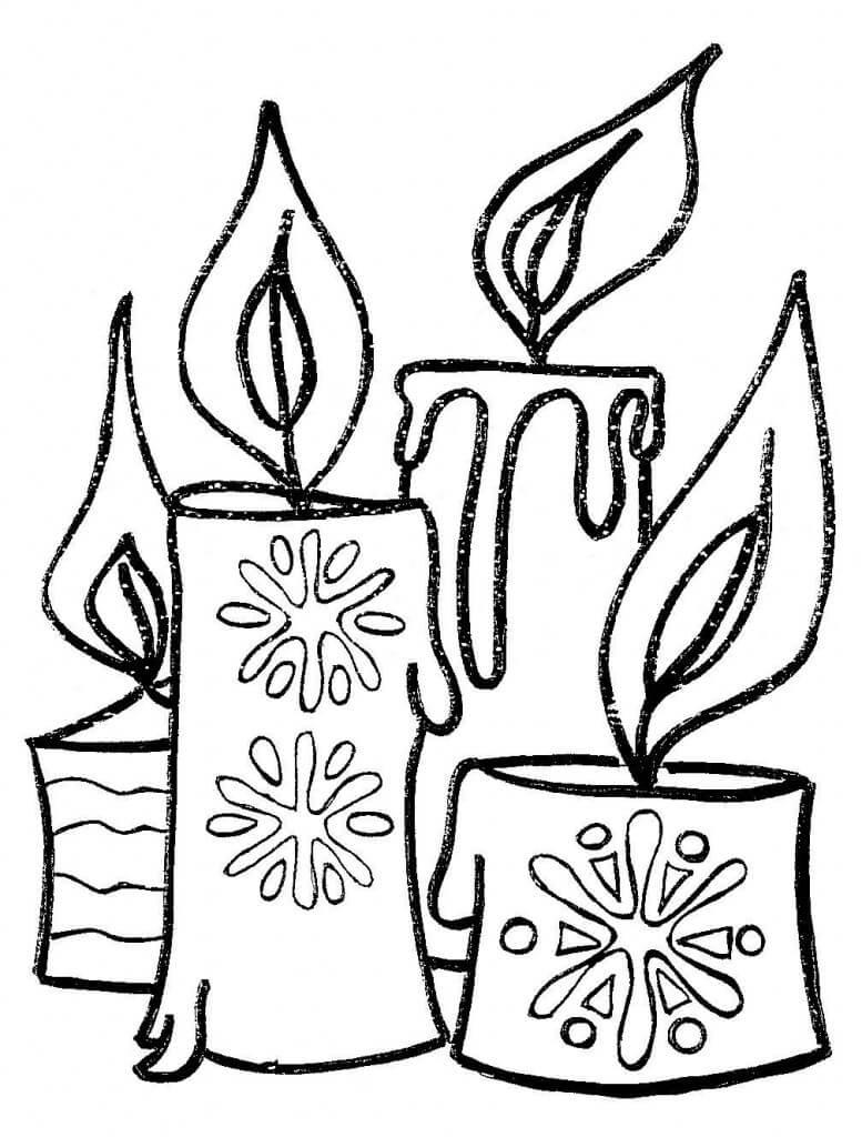 Velas de navidad para colorear