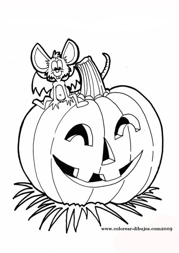 dibujo de calabazas con raton de halloween