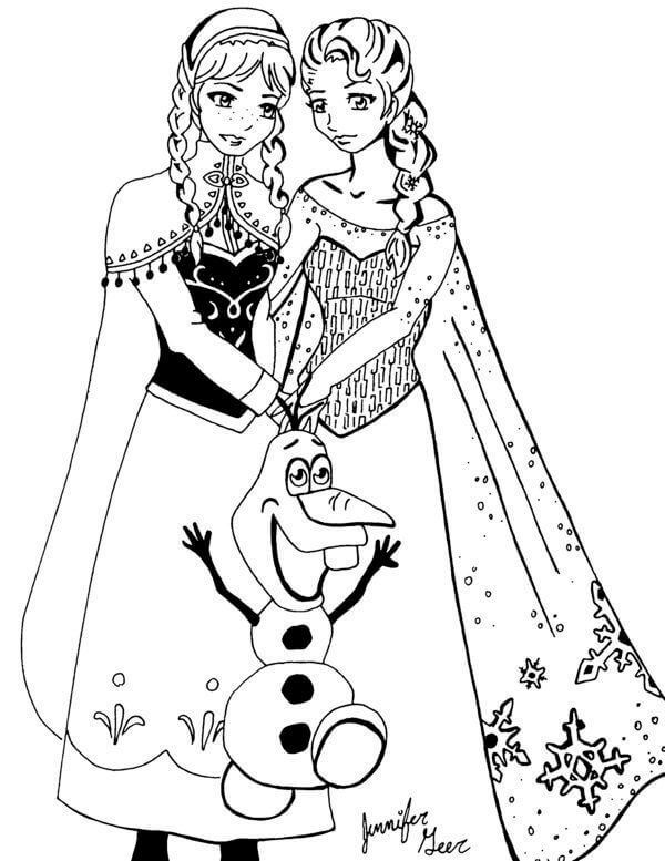 Frozen Princesas Ana y Elsa para pintar