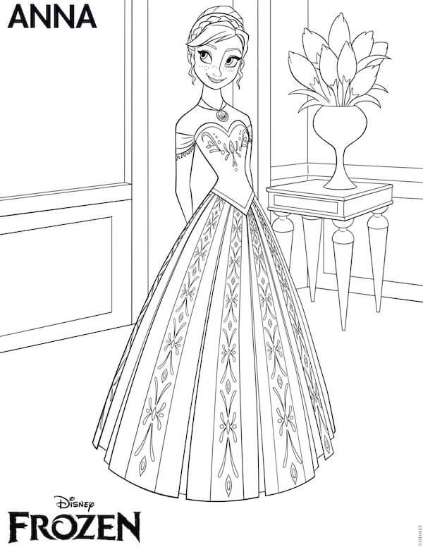 frozen Princesa anna para pintar y colorear