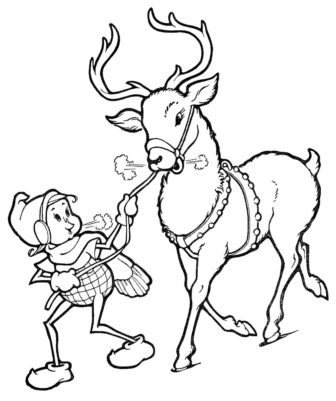 Dibujos de renos de navidad para Colorear - Imágenes para Pintar