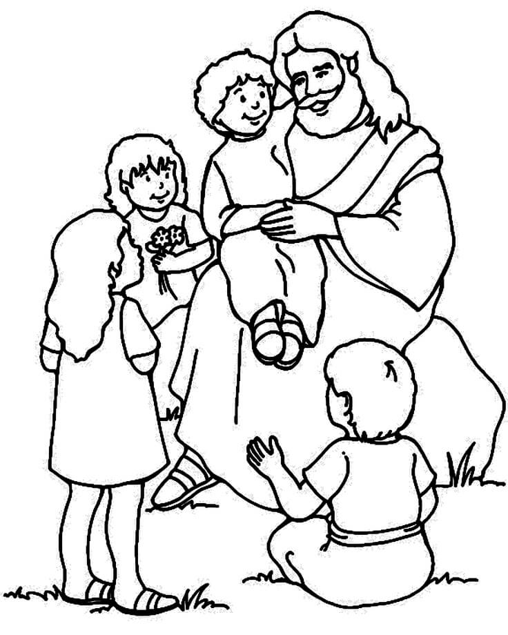 Dibujos de jesús junto con niños para pintar