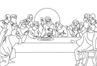 Dibujos de Última Cena de Jesus Para Pintar y Colorear