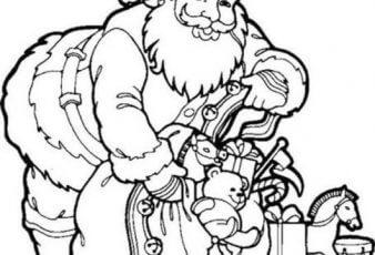 Bonitos Dibujos de papa noel con regalos para colorear