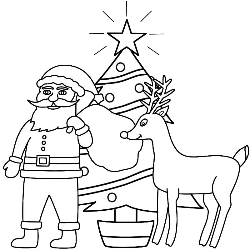Papa noel con árbol de navidad para pintar