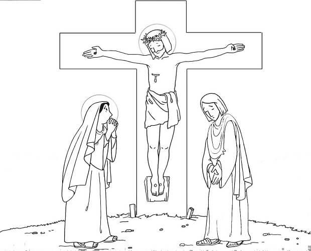 Dibujos de Jesus Crucificado para Colorear, Semana Santa