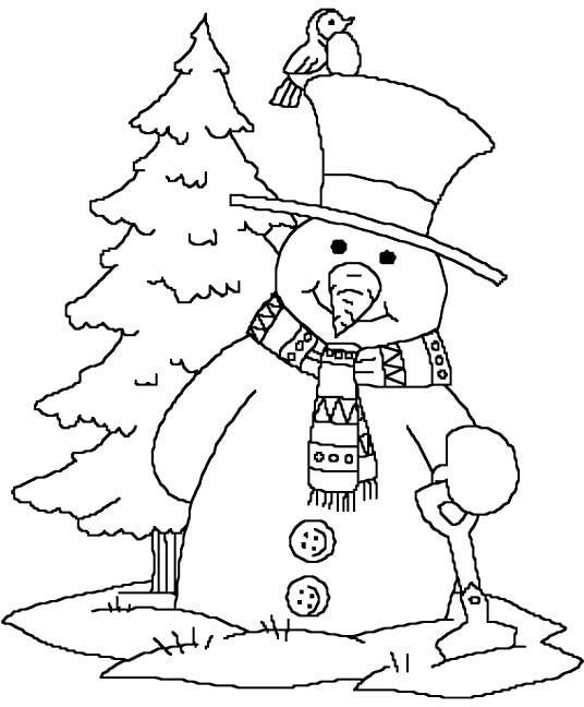 muñeco de nieve de navidad para pintar